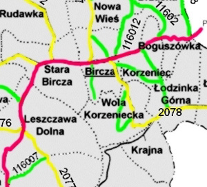 [bircza.pl area roads map, 2006]