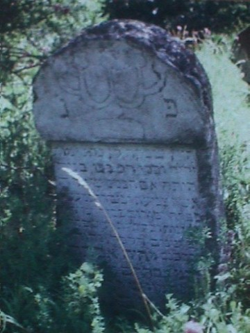 [Gravestone in the ruins of the Jewish cemetery, 1998]